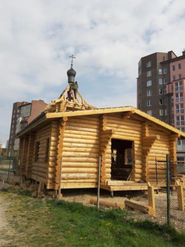 Установка деревянного купола 1