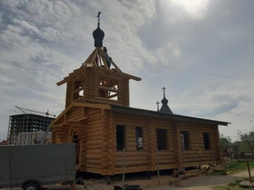 Установка деревянного купола 3
